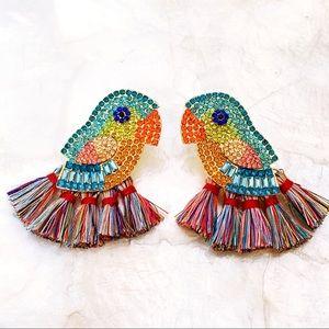 Rhinestone Parrot Fringe Earrings Summer NEW